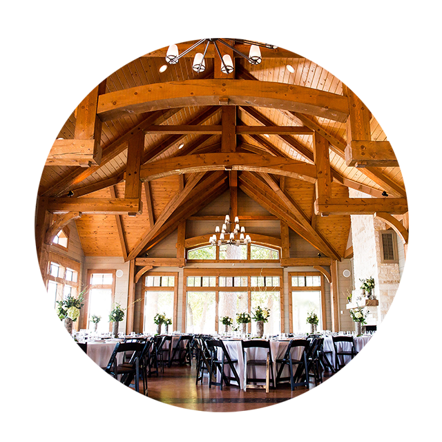 Indoor wedding & reception venue in Tyler Texas. Wooden Cathedral Ceilings.